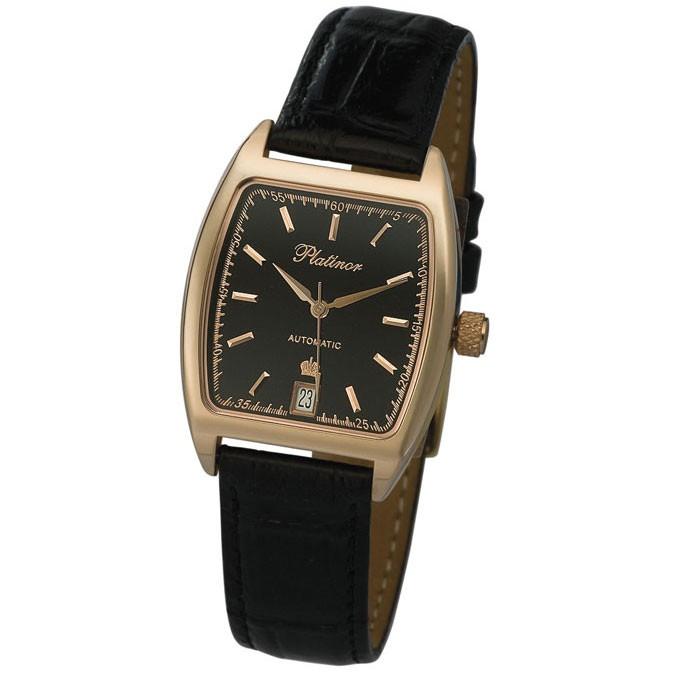 Мужские золотые часы, золото 585 пробы, механика с автоподзаводом, черный циферблат, цифровка отсутствует